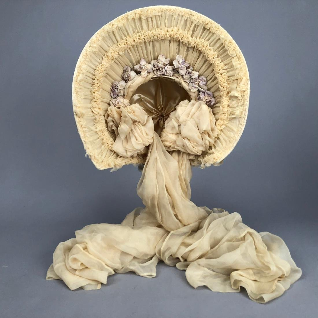 YOUNG LADY'S SATIN COVERED STRAW HAT, c. 1870