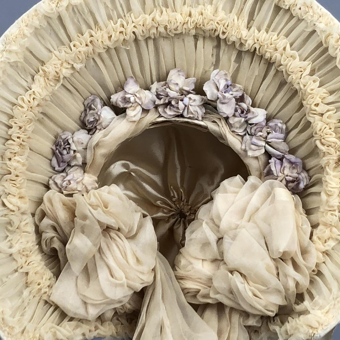 YOUNG LADY'S SATIN COVERED STRAW HAT, c. 1870 - 2