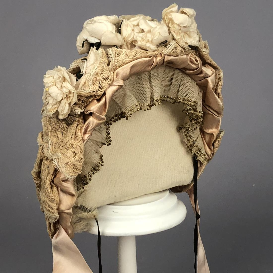 TWO BEADED LACE BONNETS, c. 1865 - 1880s - 3