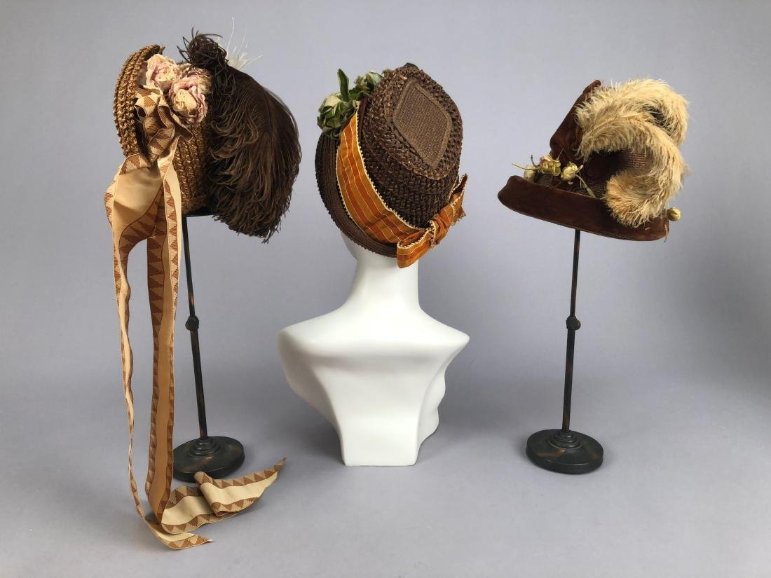 THREE SMALL BROWN STRAW HATS, 1880s - 1890s
