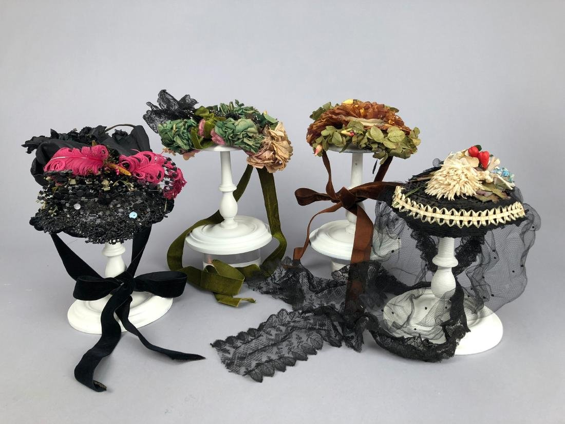 FOUR INTERESTING BONNETS, 1870s and 1890s