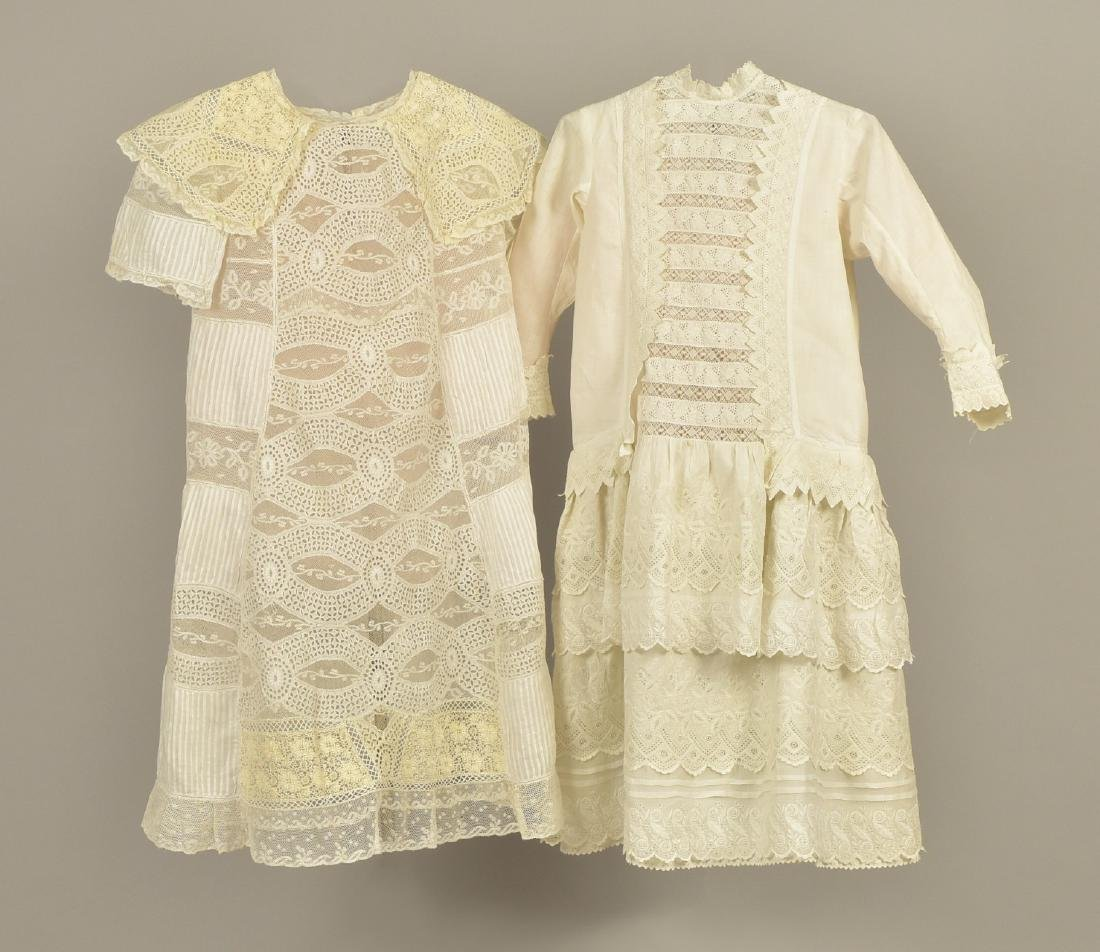 TWO YOUNG GIRLS' LACE DRESSES, 1870 - 1880