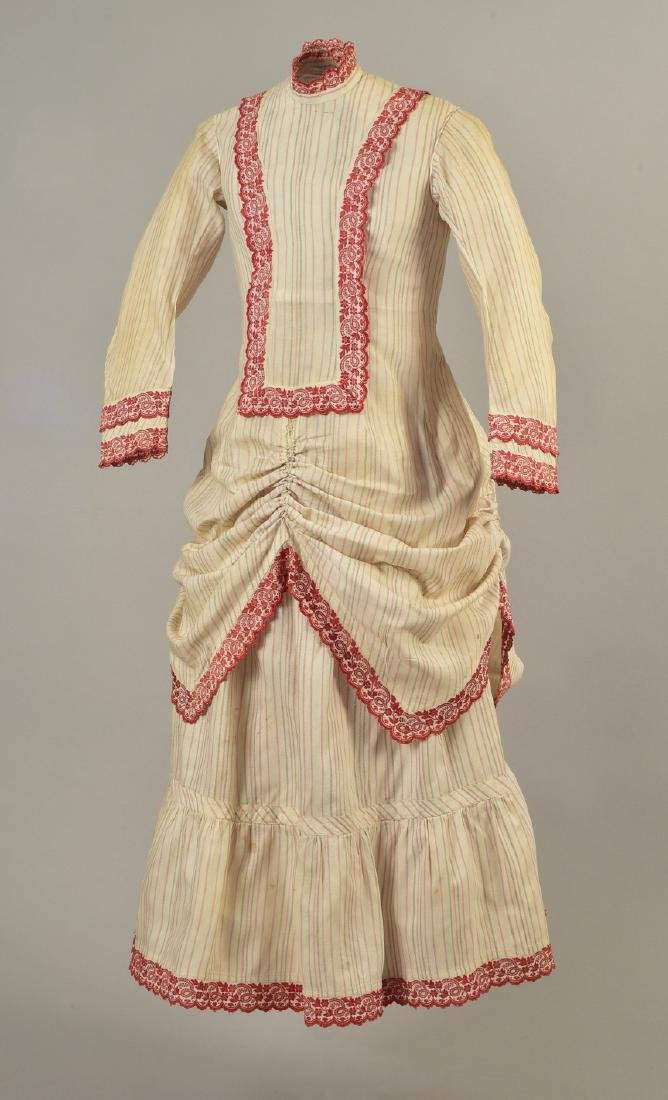 YOUNG LADY'S 2-PIECE STRIPED COTTON DRESS, 1876