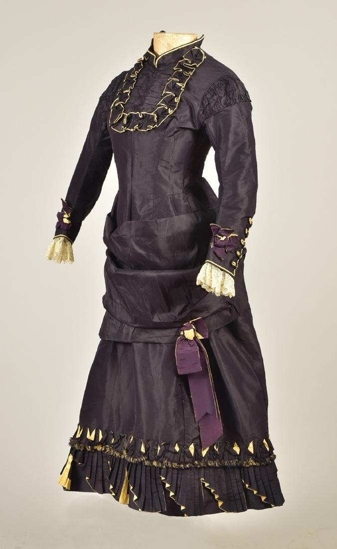GIRL'S TAFFETA BUSTLE DRESS, 1870s