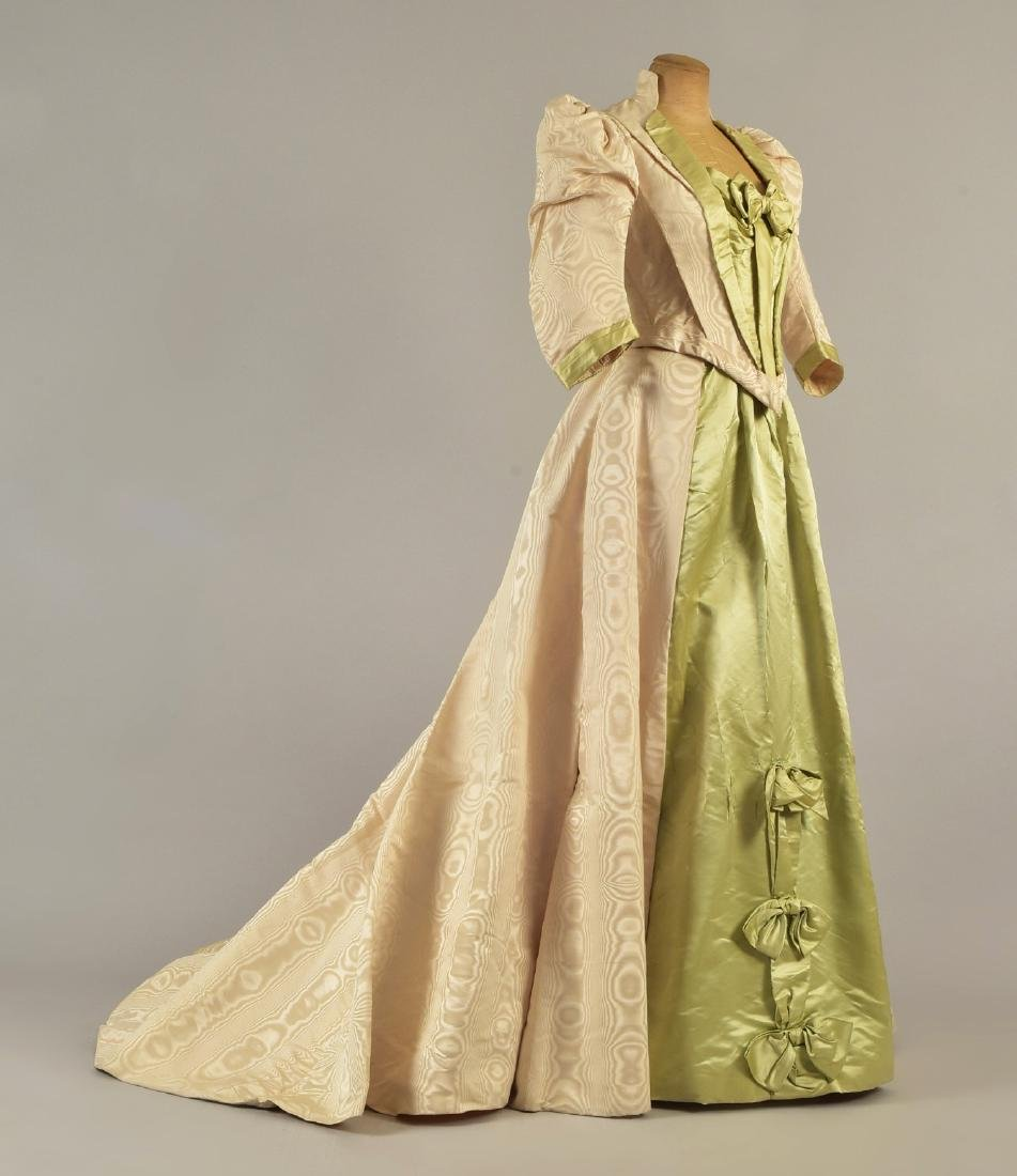 MOIRE SILK GOWN and SLIPPERS with ROYAL PROVENANCE, c.