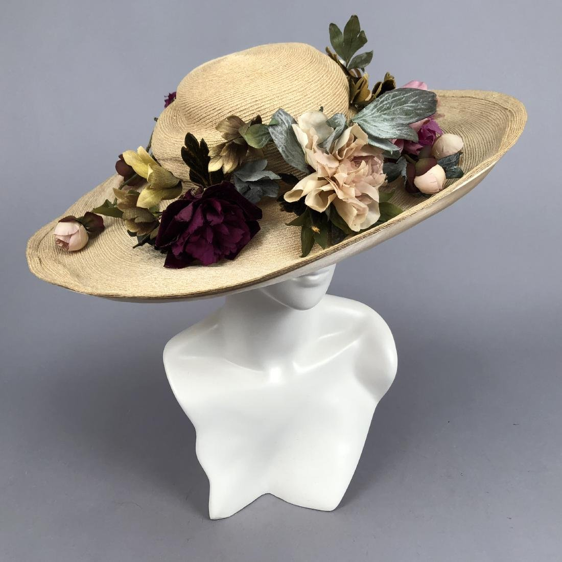 WIDE-BRIM STRAW HAT with PEONIES, QUEENS AUCTION, c.