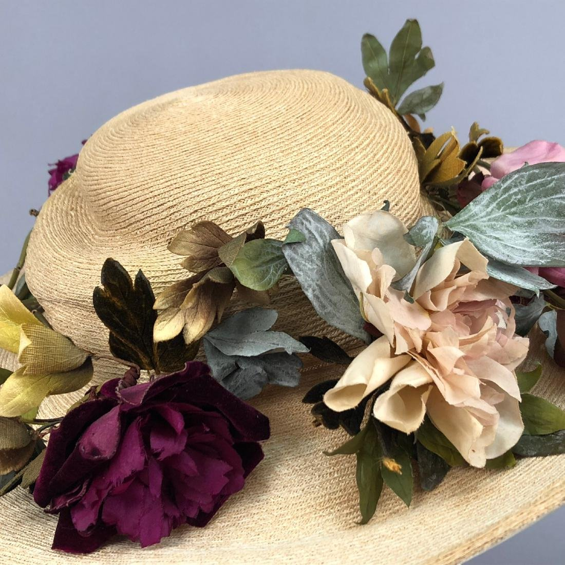 WIDE-BRIM STRAW HAT with PEONIES, QUEENS AUCTION, c. - 2