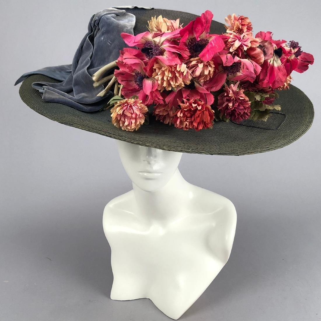 BLUE-GREY STRAW WIDE-BRIM HAT, QUEENS AUCTION, c. 1908