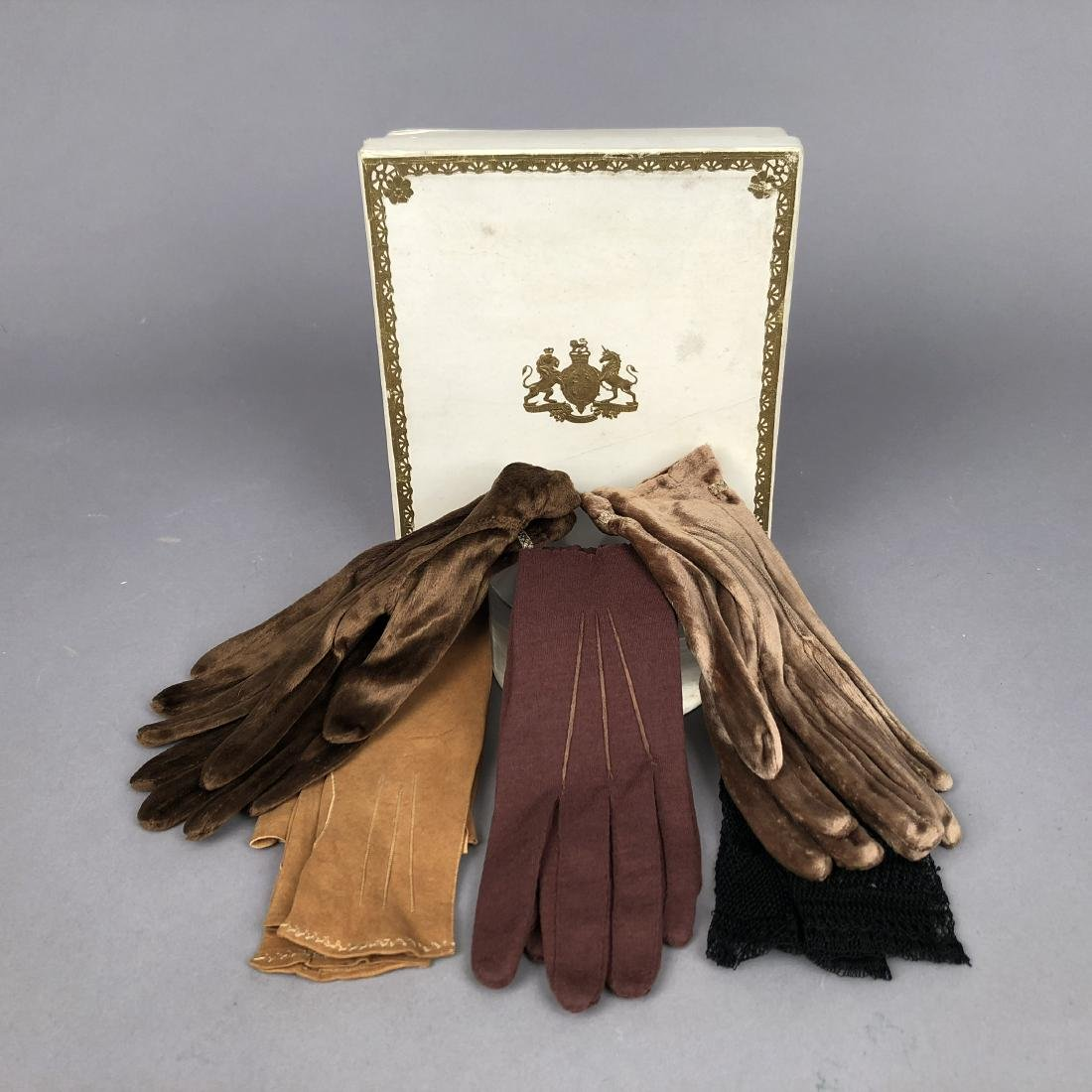 FIVE PAIR GLOVES and BOX with CREST, QUEEN VICTORIA,