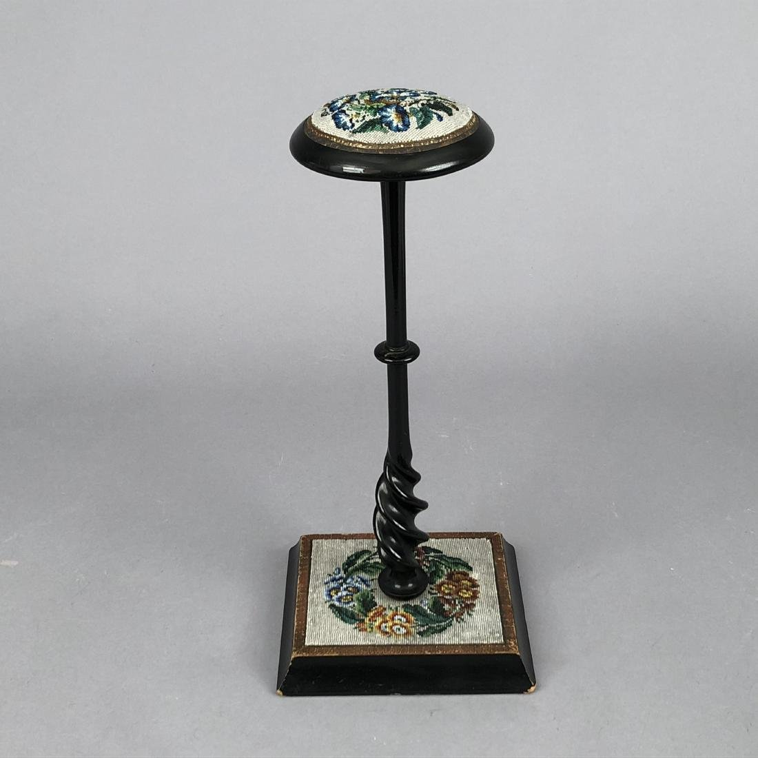 WOODEN HAT STAND with BEADWORK, QUEENS AUCTION, 1908