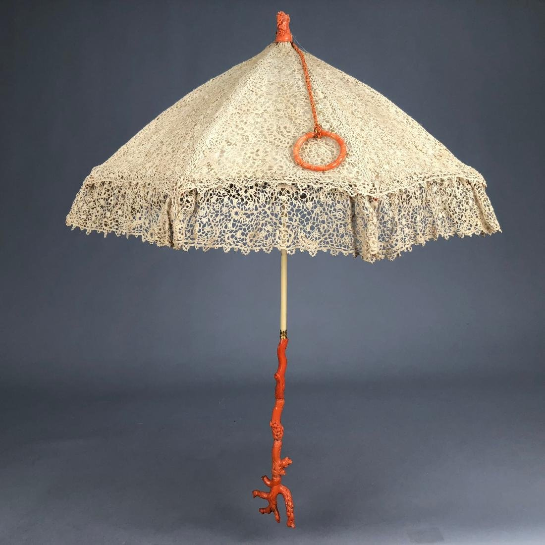 IRISH CROCHET PARASOL with CARVED CORAL HANDLE, 1850