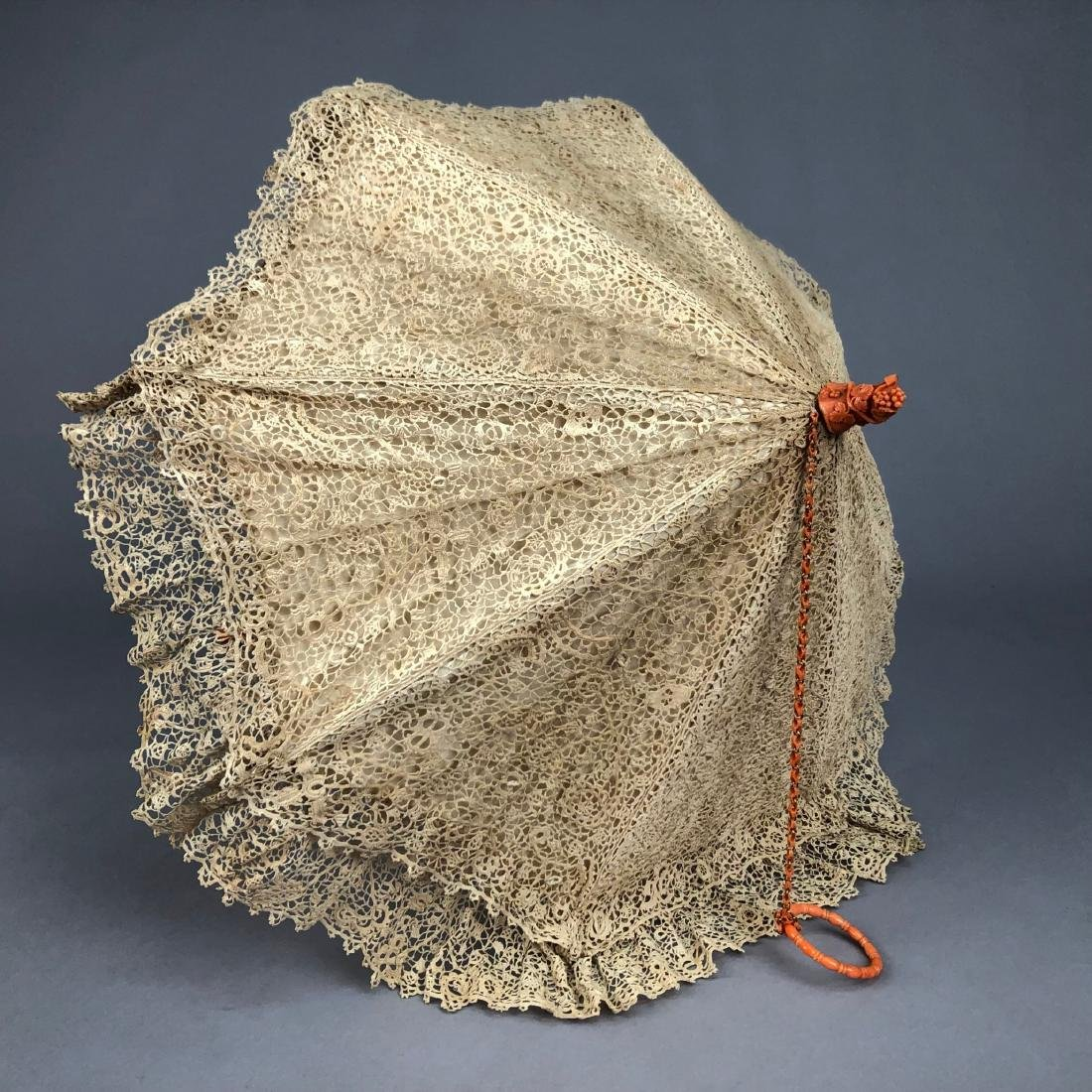 IRISH CROCHET PARASOL with CARVED CORAL HANDLE, 1850 - 3