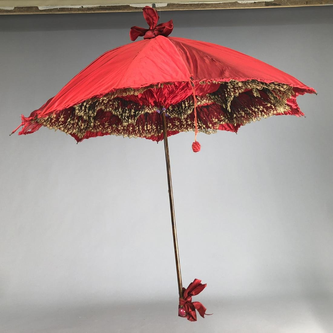 SATIN PARASOL with INTERIOR of BLACK and WHITE LACE,