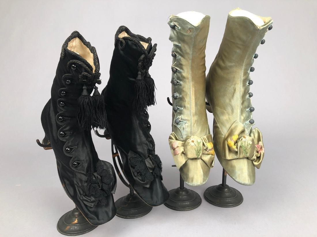 TWO PAIR SATIN ANKLE BOOTS, c. 1870