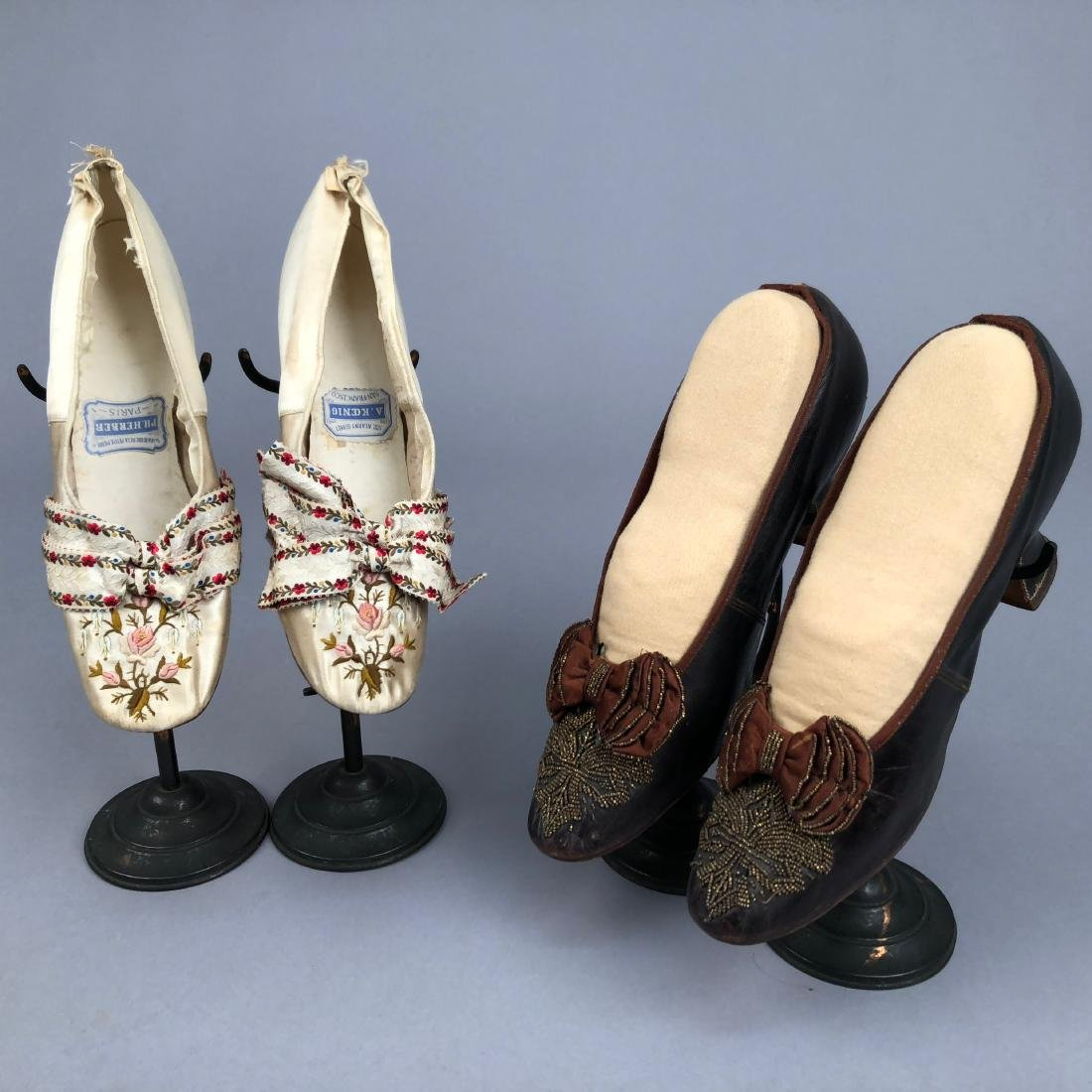 TWO PAIR LADIES' SHOES with LOUIS HEEL, 1870s