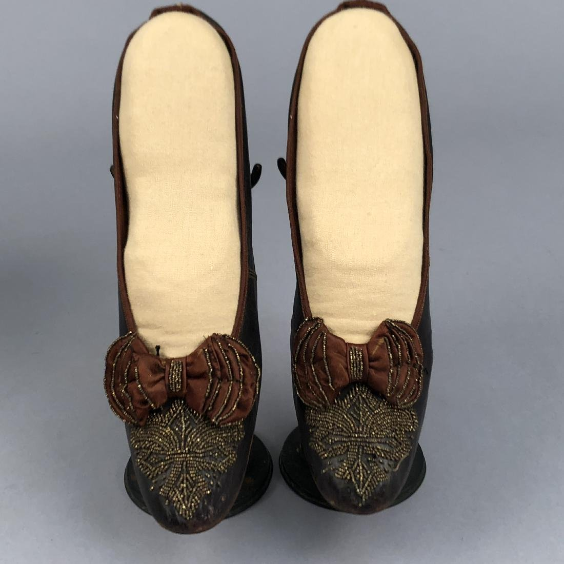 TWO PAIR LADIES' SHOES with LOUIS HEEL, 1870s - 2