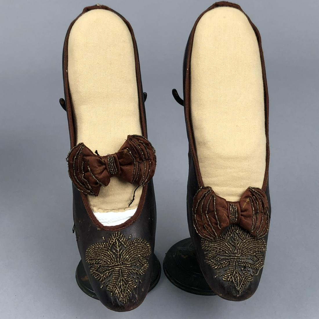 TWO PAIR LADIES' SHOES with LOUIS HEEL, 1870s - 3