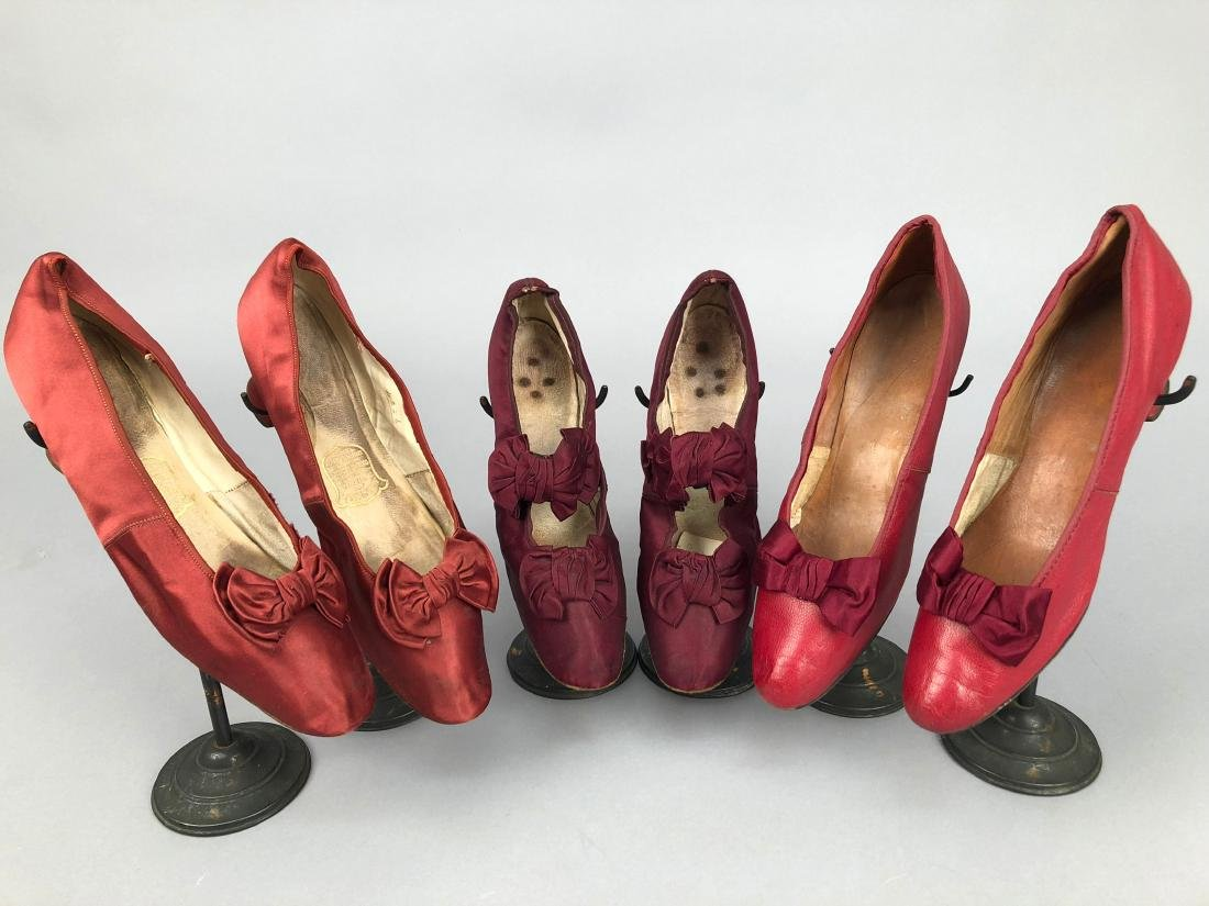 THREE PAIR LOW HEELED PUMPS with BOW VAMP, 1880s -1890s