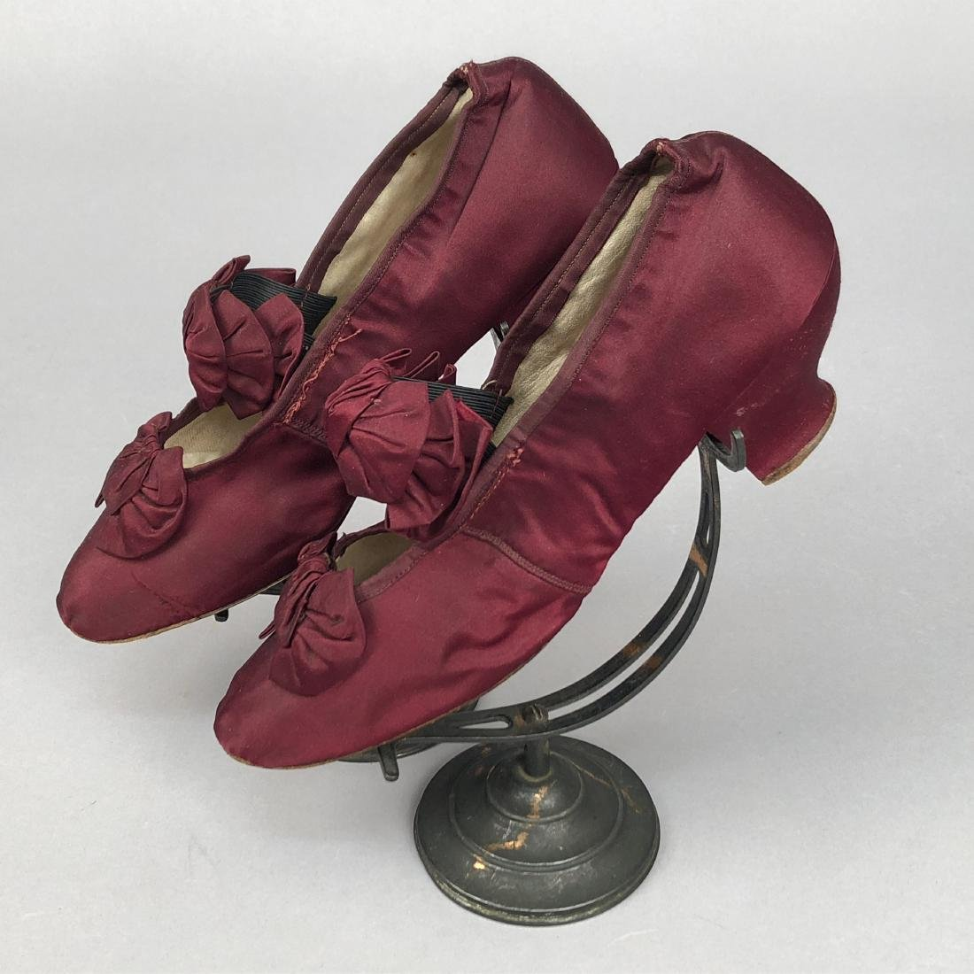 THREE PAIR LOW HEELED PUMPS with BOW VAMP, 1880s -1890s - 2