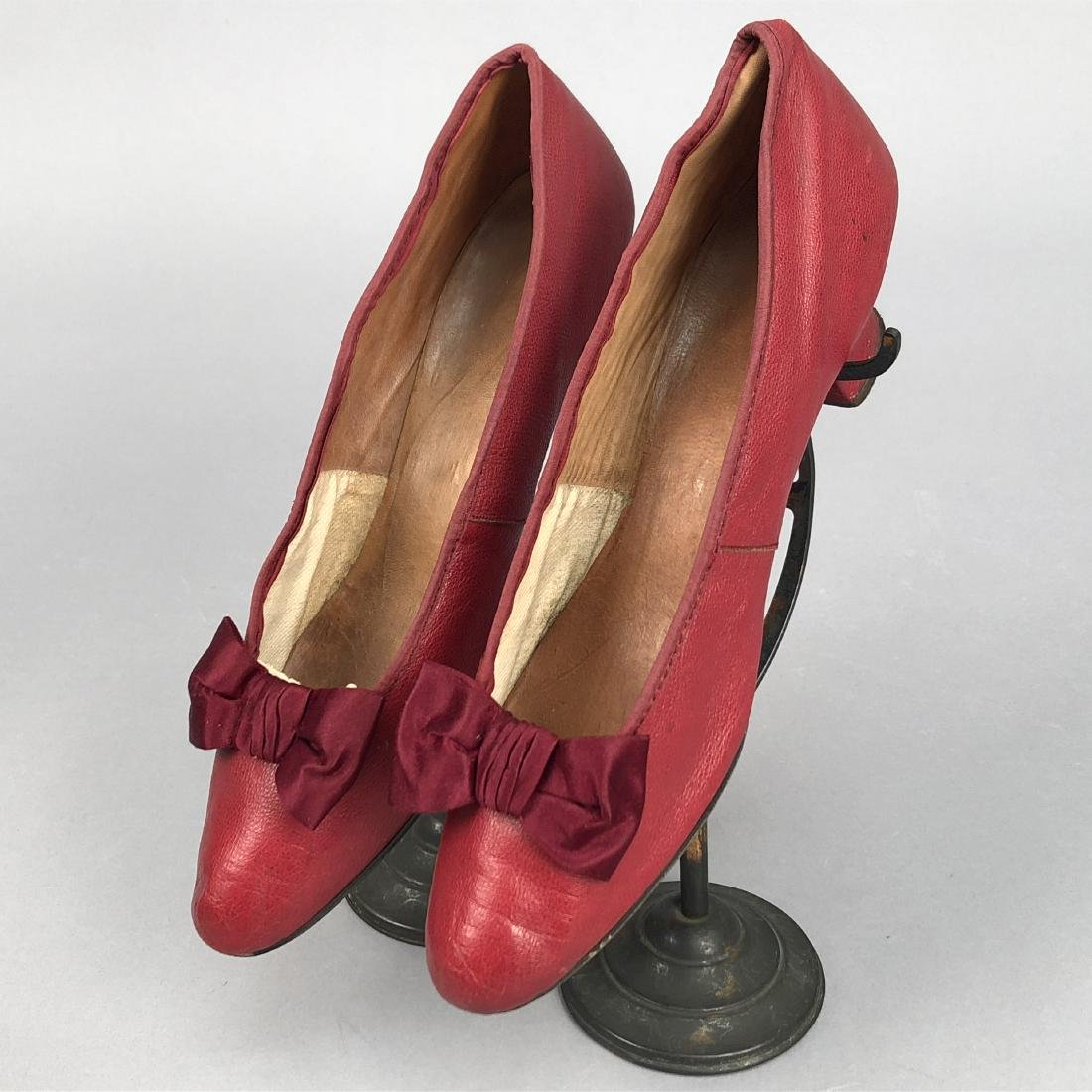 THREE PAIR LOW HEELED PUMPS with BOW VAMP, 1880s -1890s - 3