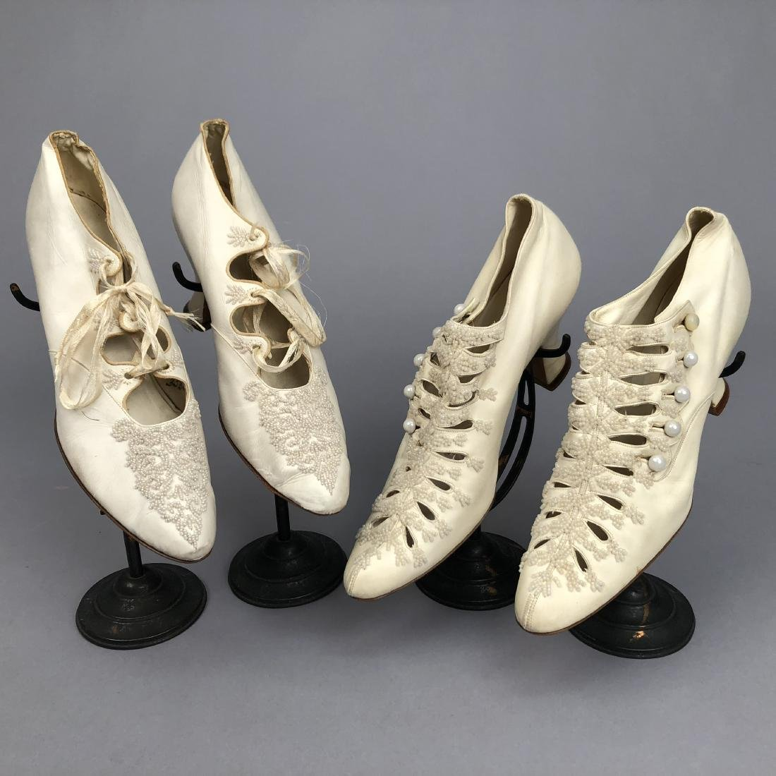 TWO PAIR FAUX PEARL-BEADED SHOES, 1895 - 1900.
