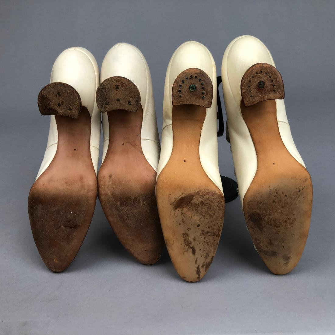 TWO PAIR FAUX PEARL-BEADED SHOES, 1895 - 1900. - 3