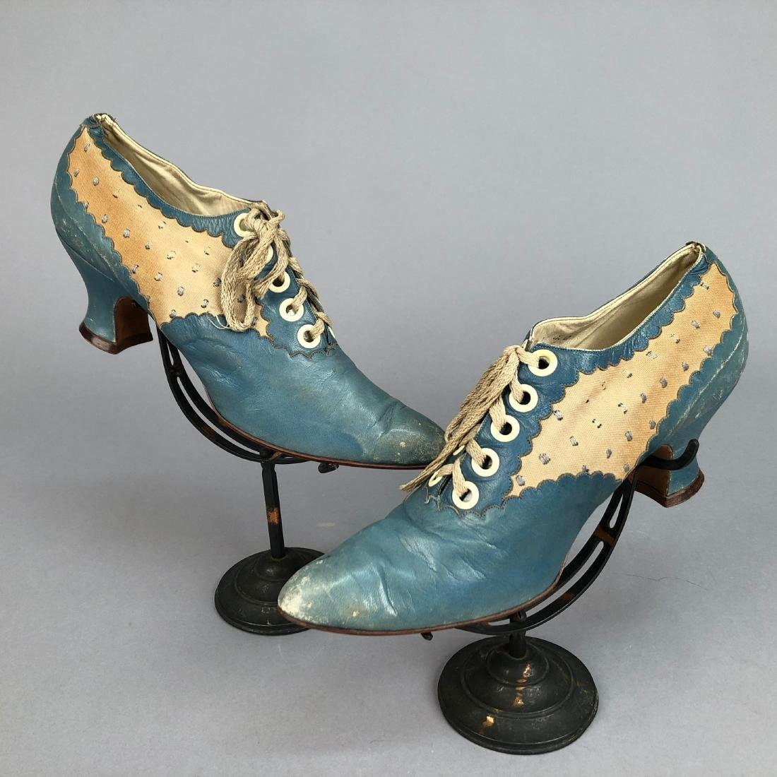 LACING LEATHER SHOES with DOTTED INSERTS, 1890 - 1895
