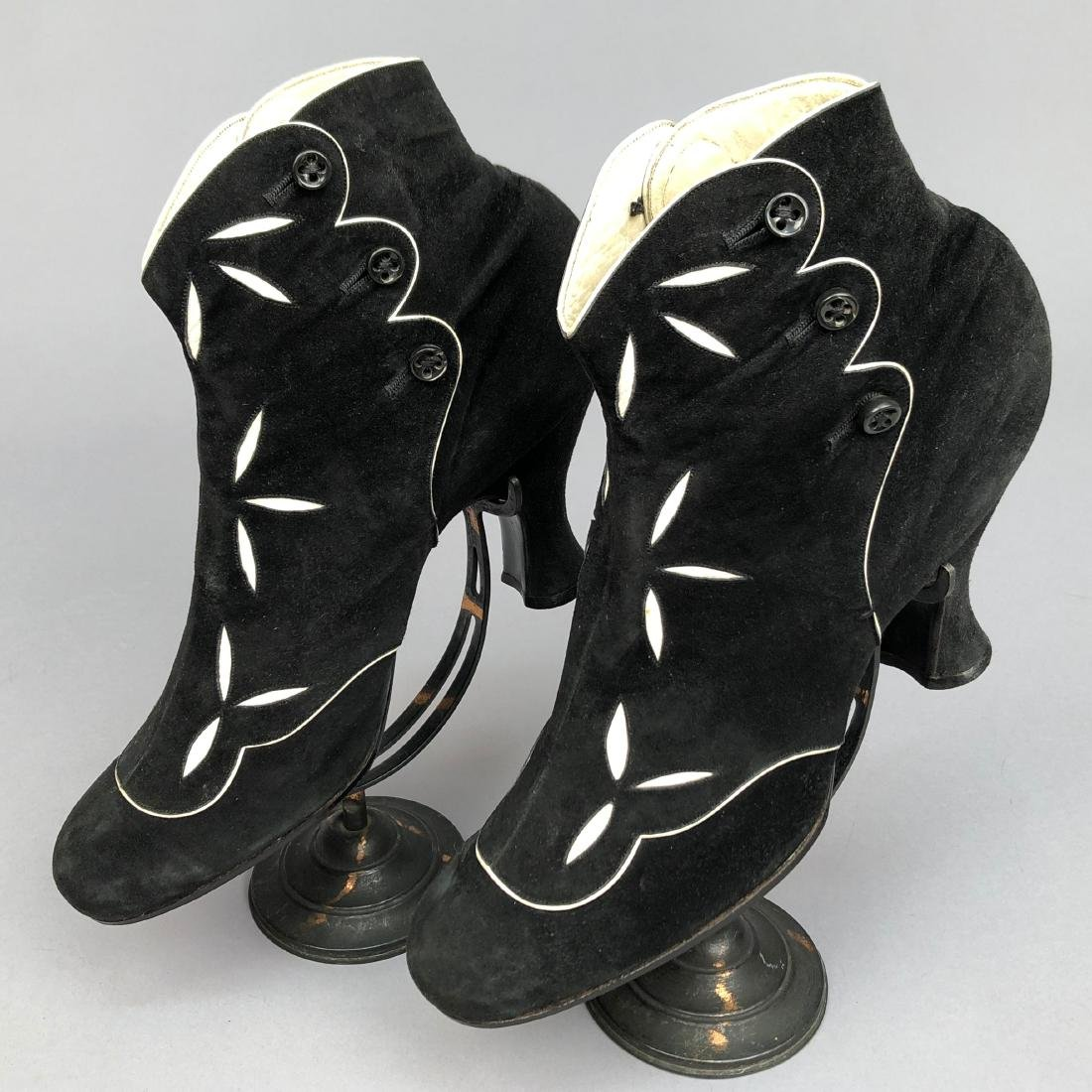 SUEDE  BOOTS with CUTWORK, 1890s
