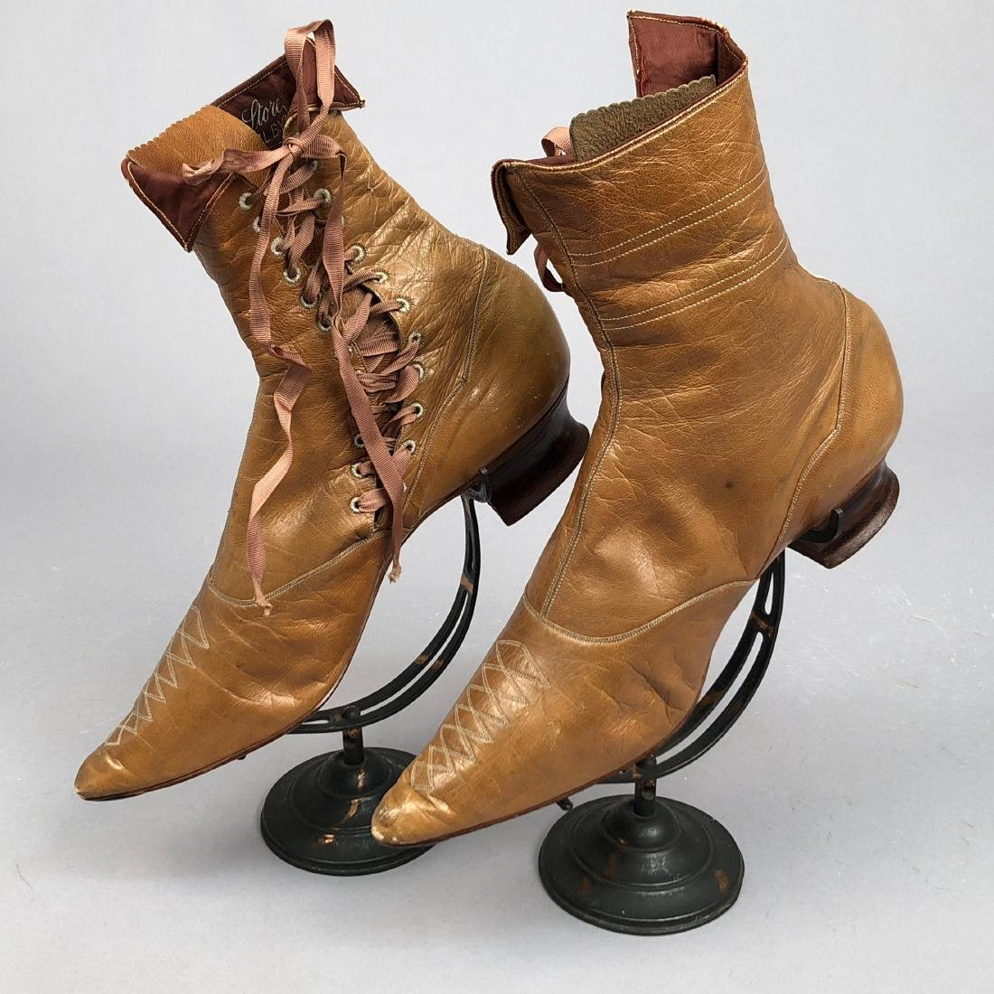 LADY'S SIDE-LACING BOOTS with TOPSTITCHING, 1890s