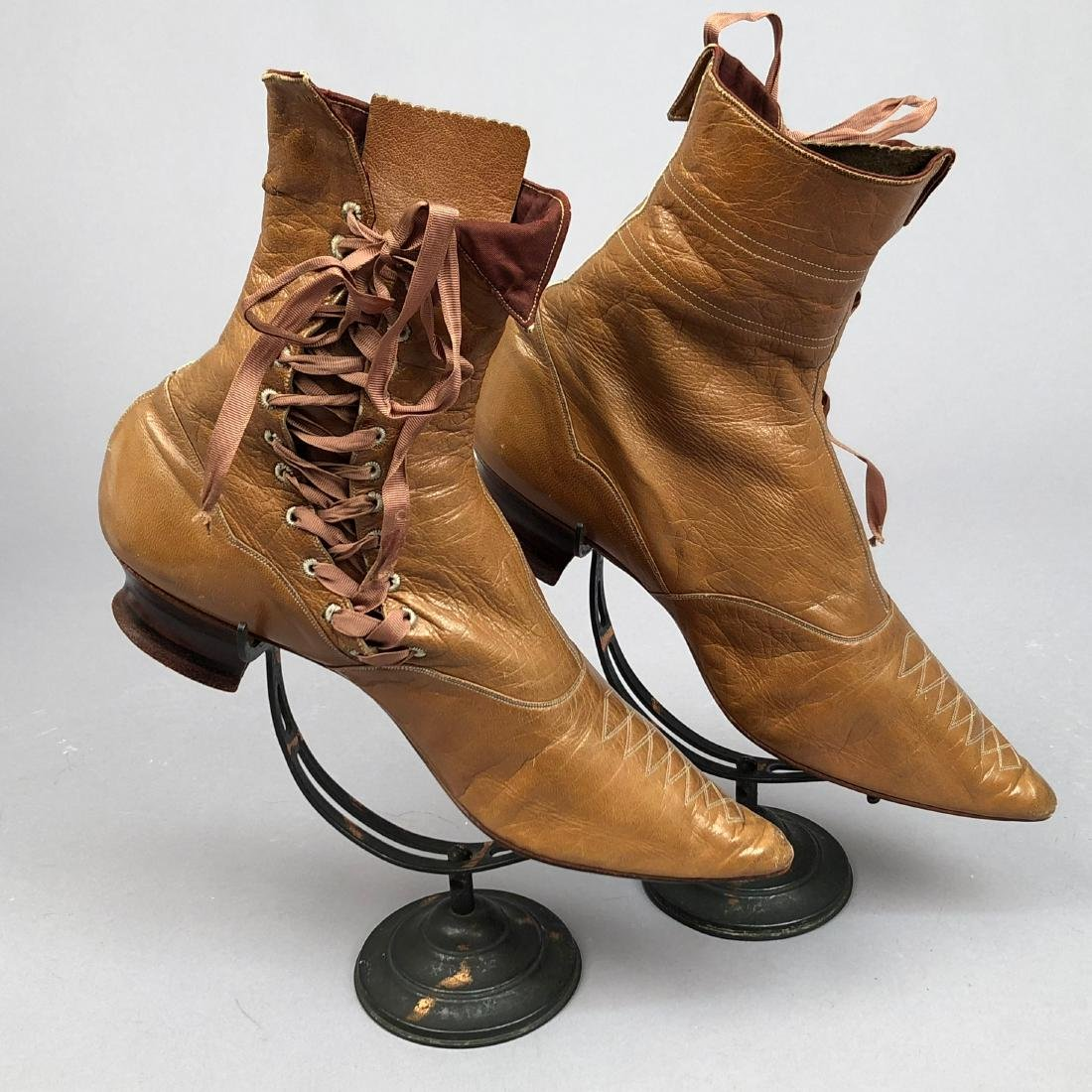 LADY'S SIDE-LACING BOOTS with TOPSTITCHING, 1890s - 2