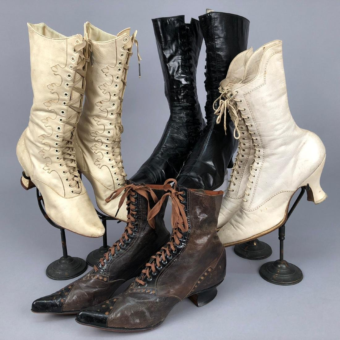 FOUR PAIR LADIES' LACING BOOTS, 1890s