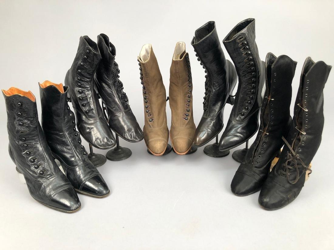 FIVE PAIR LADIES' BOOTS, 1890 - 1910