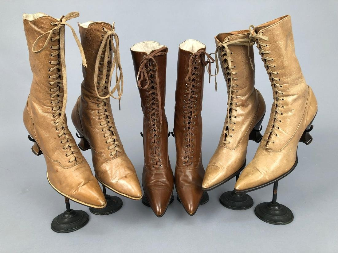 THREE PAIR HIGH-LACING BOOTS, 1890s