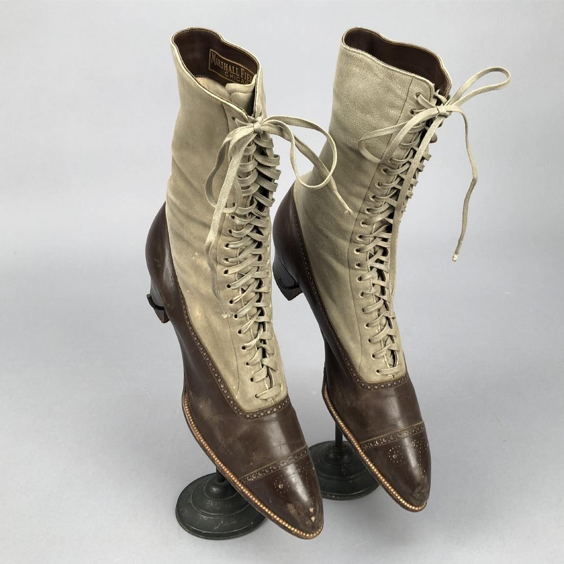 THREE PAIR LADIES' LACING SPECTATOR BOOTS, 1890s - 4