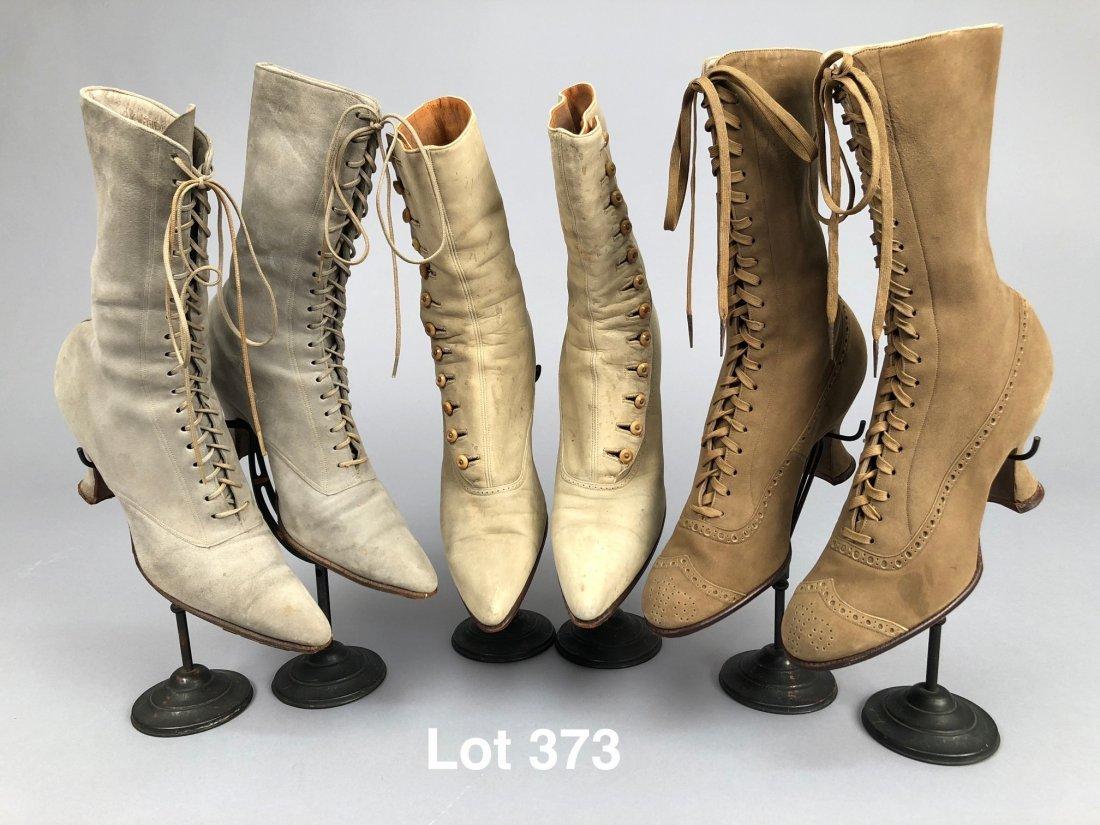 THREE PAIR LADIES' SUEDE BOOTS, 1890s - 1900s