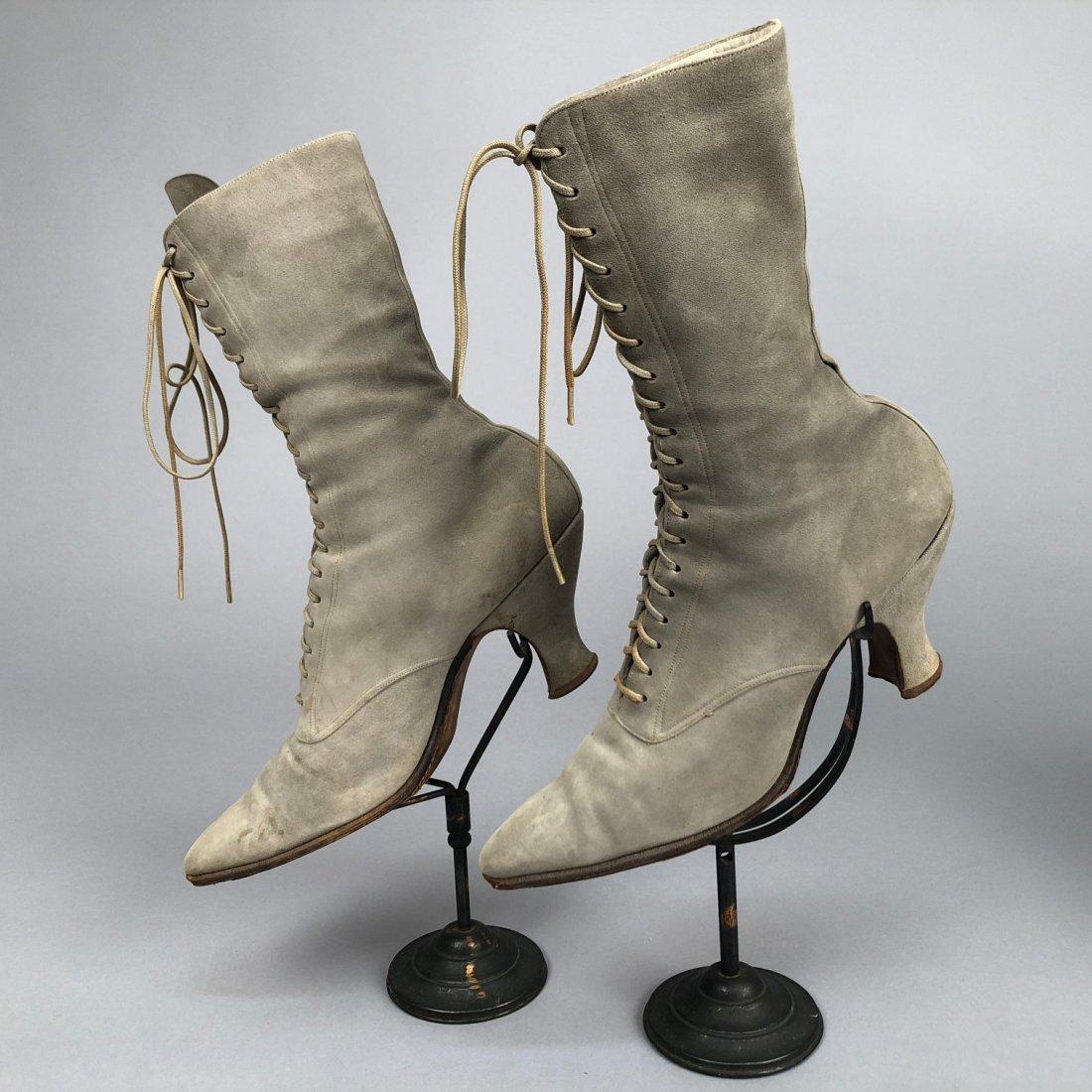 THREE PAIR LADIES' SUEDE BOOTS, 1890s - 1900s - 2
