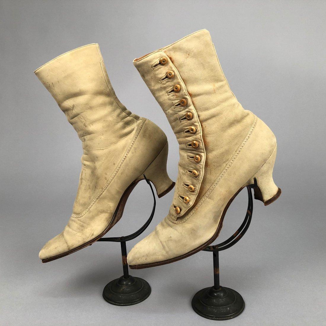 THREE PAIR LADIES' SUEDE BOOTS, 1890s - 1900s - 3