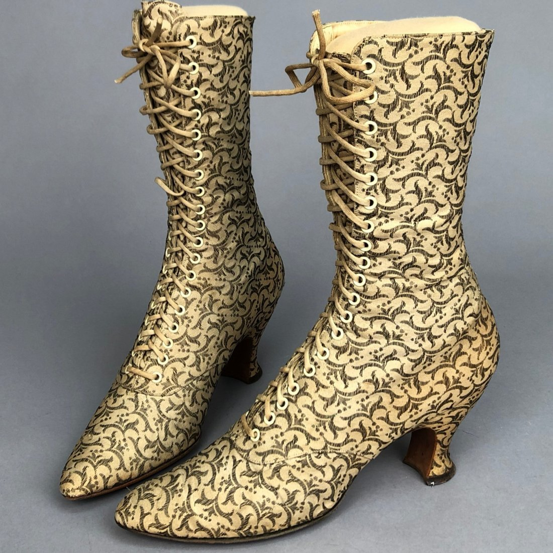 METALLIC BROCADE LACE-UP BOOTS, c. 1895