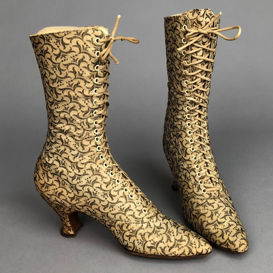 METALLIC BROCADE LACE-UP BOOTS, c. 1895 - 2