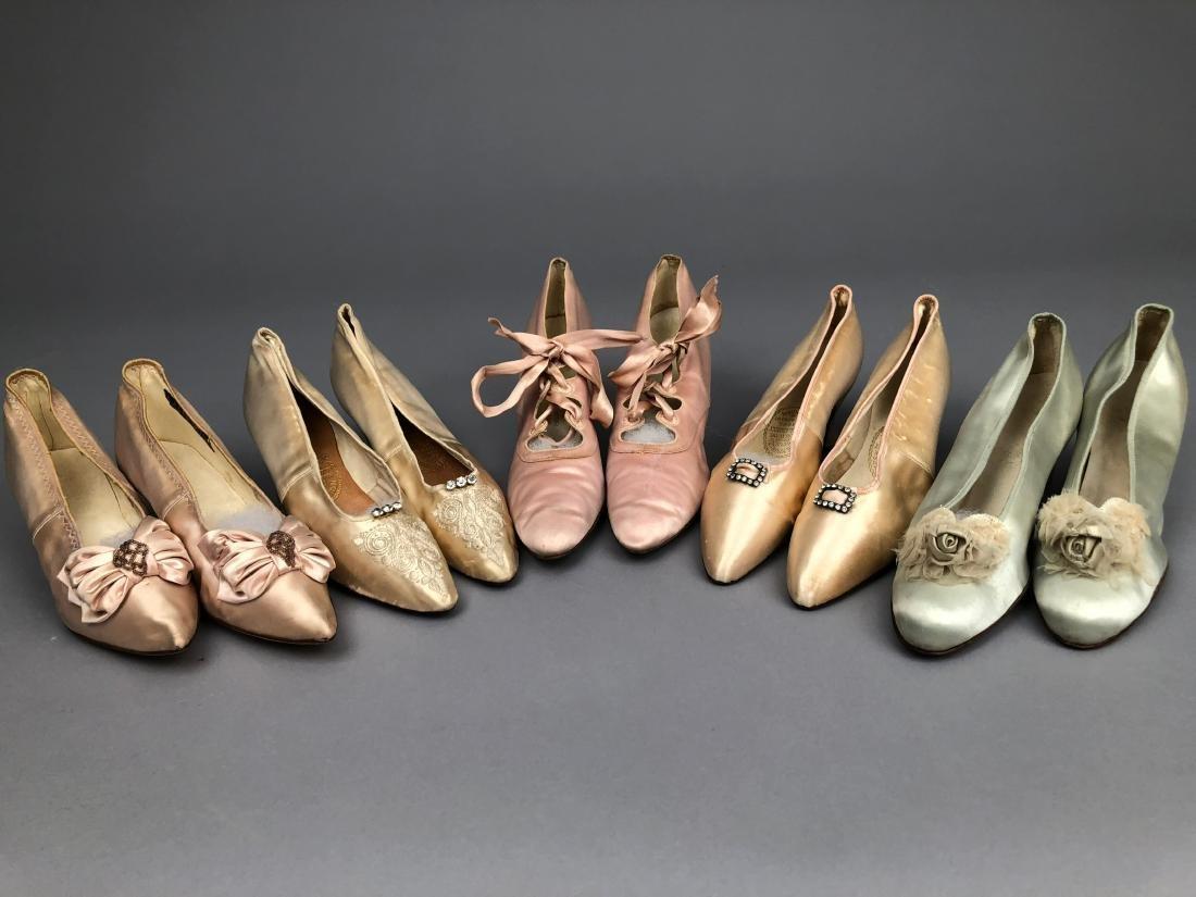 FIVE PAIR LADIES' PALE SATIN PUMPS, 1890 - 1910.