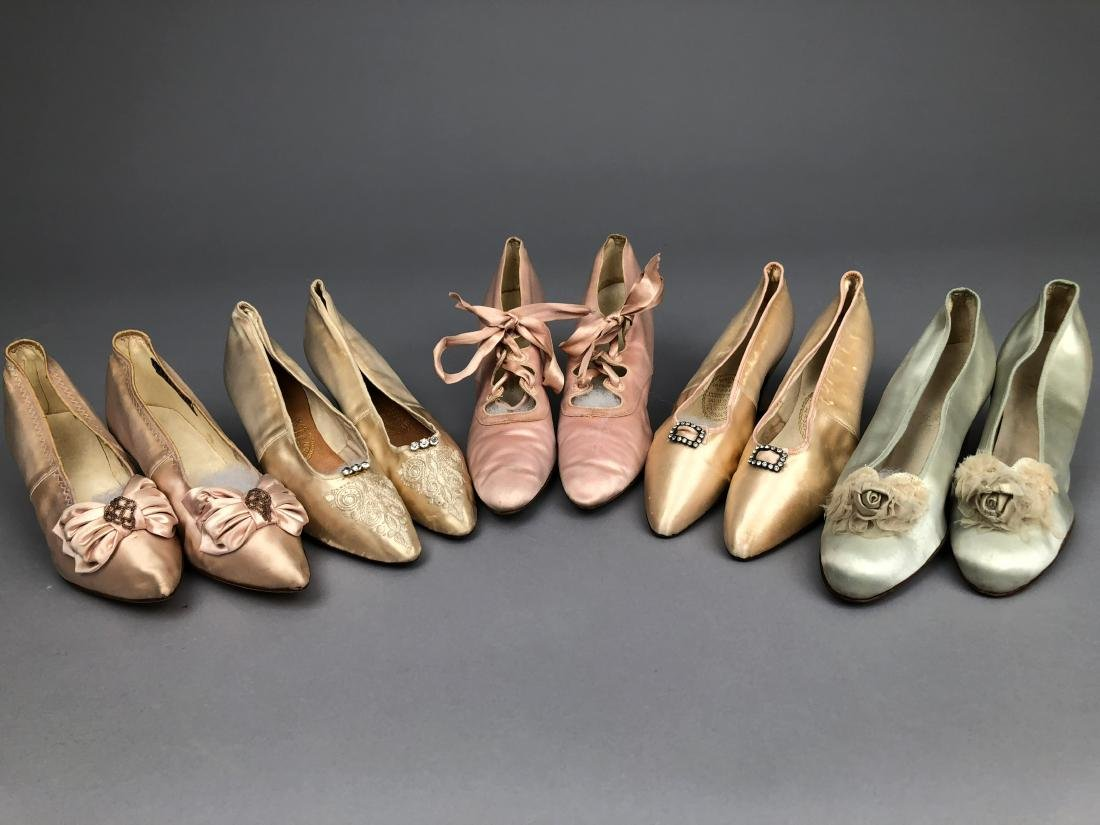 FIVE PAIR LADIES' PALE SATIN PUMPS, 1890 - 1910.