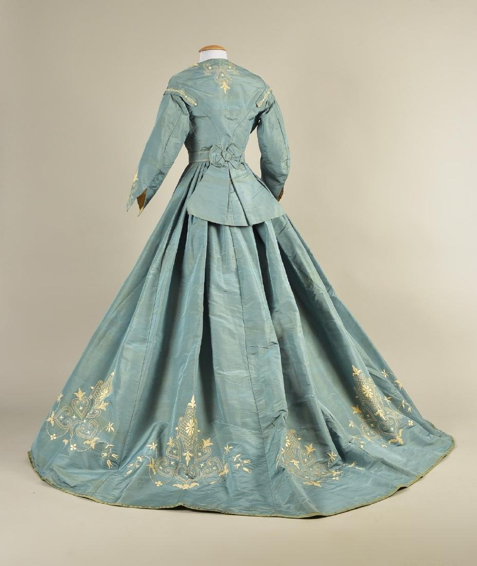 EMBROIDERED SILK RECEPTION GOWN, 1867