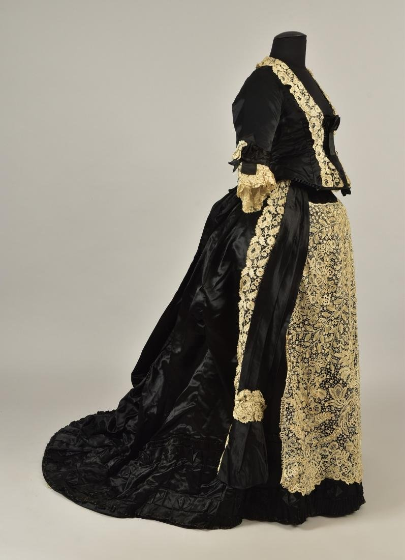 TRAINED BUSTLE GOWN with HONITON LACE, 1870s