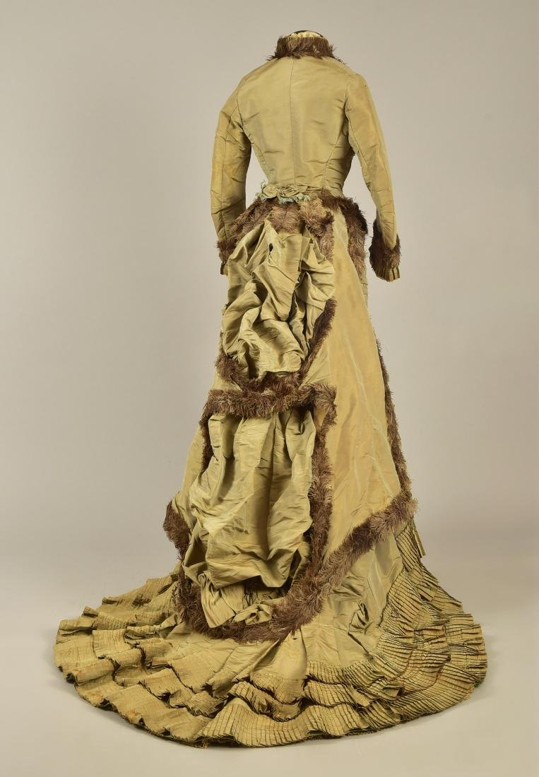 OSTRICH FEATHER-TRIMMED BUSTLE GOWN, 1876 - 2