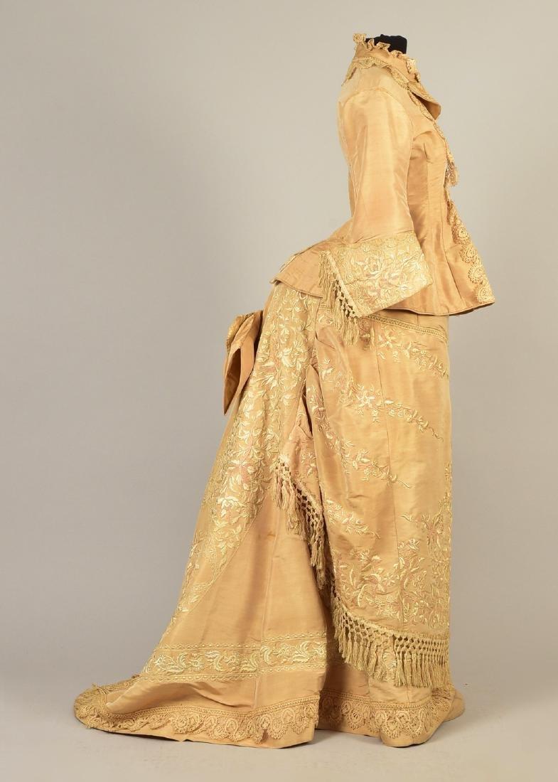 EMBROIDERED TAFFETA BUSTLE DRESS, c. 1878