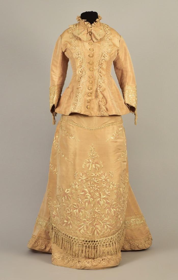 EMBROIDERED TAFFETA BUSTLE DRESS, c. 1878 - 2