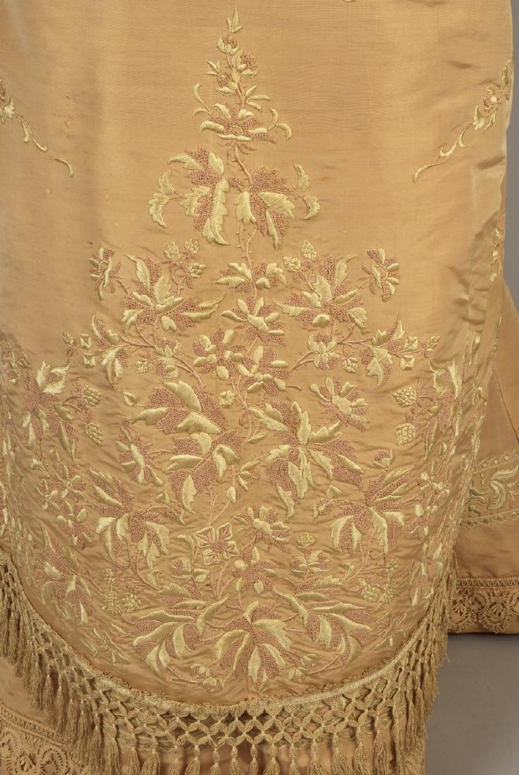 EMBROIDERED TAFFETA BUSTLE DRESS, c. 1878 - 3
