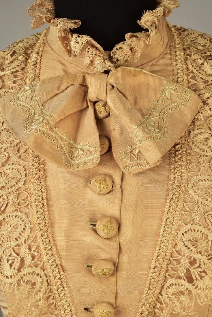 EMBROIDERED TAFFETA BUSTLE DRESS, c. 1878 - 4