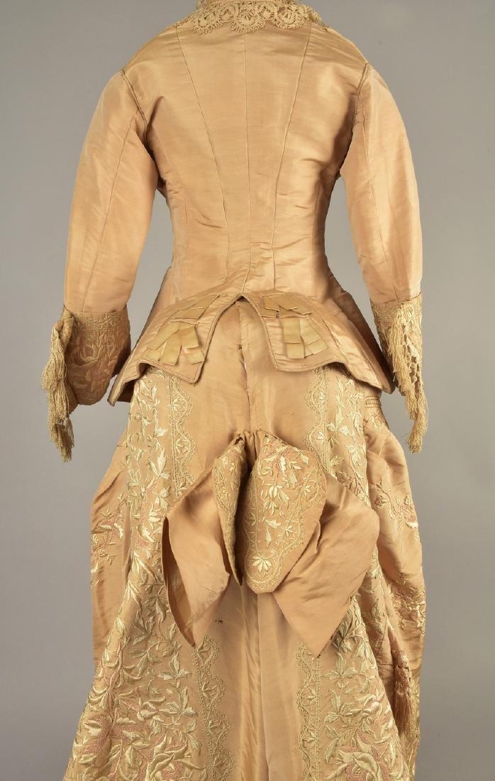 EMBROIDERED TAFFETA BUSTLE DRESS, c. 1878 - 5