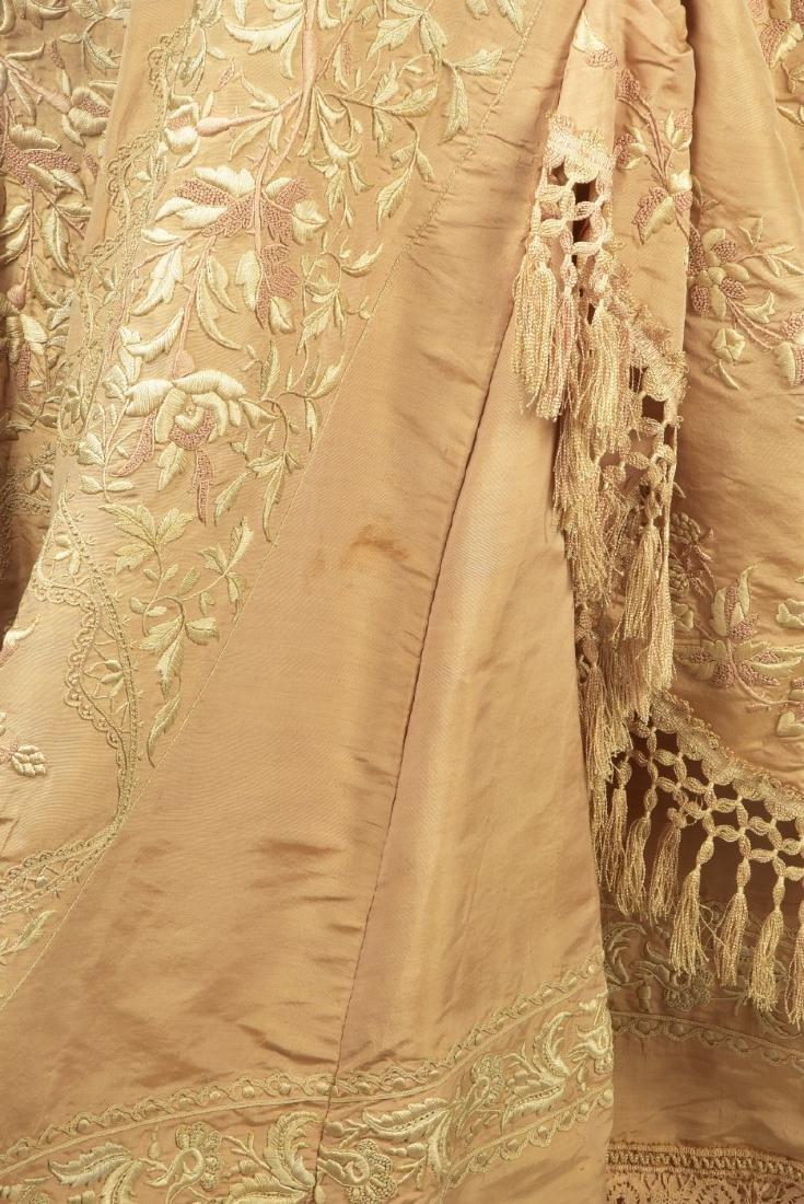 EMBROIDERED TAFFETA BUSTLE DRESS, c. 1878 - 6